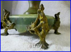 Pair of French Art Nouveau Sculpted Bronze and Green Marble Floral Table Lamps