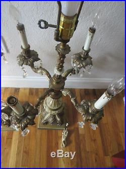 Pair of French ornate gilt cast bronze candelabra electric table lamps