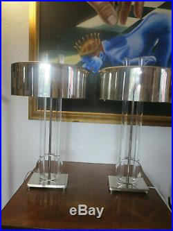 Pair of GLOBAL VIEWS Deco Modern Lucite and Chrome Table Lamps