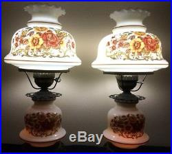 Pair of Gone With The Wind Hurricane Lamps, Double-Globe. Yellow Floral. Vintage