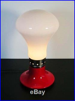 Pair of Italian Vintage white and red table lamp Vistosi style