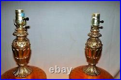Pair of Large Exquisite 1970's Mid Century Hollywood Regency Amber Glass Lamps