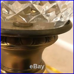 Pair of Large Waterford Crystal Table Lamps with Original Shade