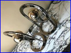 Pair of Large chrome Postmodern 1980s Metal Table Lamps vintage rare Germany