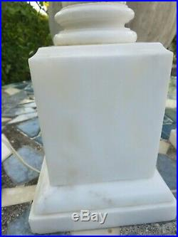 Pair of Marble Neoclassical Column Table Lamps