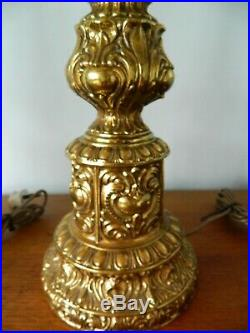 Pair of Matching Stunning Huge Metal Table Lamps, Gold Colour, Very Ornate Design