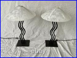 Pair of Memphis Style Post Modern Wave Table Lamps by Alsy