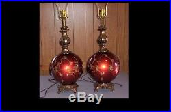 Pair of Mid Century Large Red Glass Globe Lamps 1960's 70's