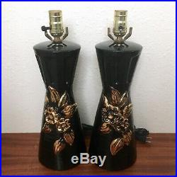 Pair of Mid-Century Modern Black & Gold Floral Table Lamps, 1950s Retro Vintage