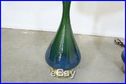 Pair of Mid-Century Modern Blue Green Tall Drip Glaze Table Lamps