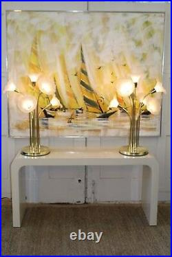 Pair of Mid Century Modern Brass/Acrylic Flower Table Lamps Rougier Style 29