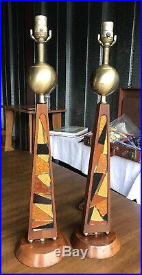 Pair of Mid-Century Modern Table Lamps with Inlaid Reflective Glass