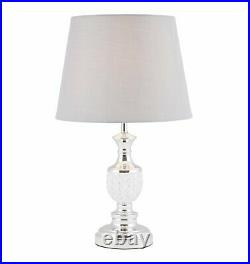 Pair of Modern Chrome Table Lamp Bedside with Glass Detail & Grey Shades