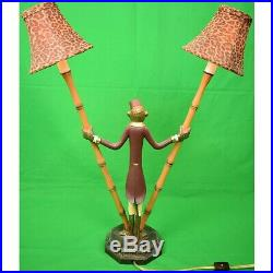 Pair of Monkey'Bellhop' Metal Bamboo Lamps with Leopard Print Felt Shades New