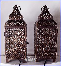 Pair of Moroccan Copper Table Lamp Bed Side Table Lamp