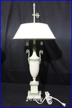 Pair of Neoclassical Mid-Century White withGreen Accent Urn Tole Shade Table Lamps