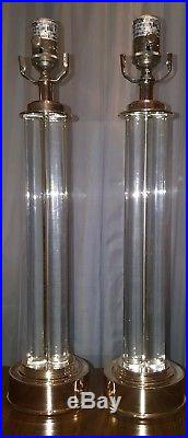 Pair of Restoration Hardware Silver & Lucite Column Table Lamps (set of 2)