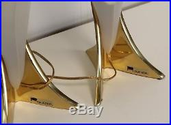 Pair of Signed Rougier Table Mid Century Modern Lamps, 1980s