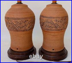 Pair of Signed Vintage Pottery Terracotta Electric Table Lamps