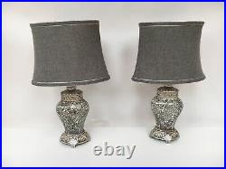 Pair of Table Lamps Antique Grey Sparkle Mosaic Base Grey Shade 46cm Height