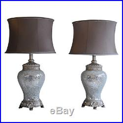 Pair of Table Lamps Antique Silver & Sparkle Mosaic Base Taupe Shade 46cm Height