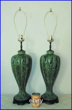 Pair of Table Lamps Peacock Blue & Green Mid Century Modern Drip Glaze