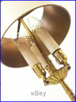Pair of Tall BOUILLOTTE LAMPS Three-Light 19th C. LOUIS XVI with Tole Shades