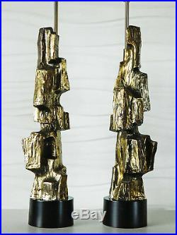 Pair of Tall Brutalist Lamps by Maurizio Tempestini for Laurel Lamp Co