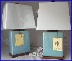 Pair of Two (2) Ralph Lauren Blue Crackle Traditional Ceramic Table Lamps