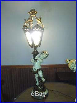 Pair of Two Vintage Tall Cherub Nymph Brass Table Estate Lamps Angel Lamps 3ft