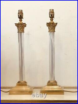 Pair of Vaughan Reeded Glass Columns, Lacquered Brass Neoclassical Table Lamps
