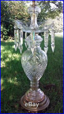 Pair of Vintage 1950's Hollywood Regency Cut Crystal Table Lamps with Spear Prisms