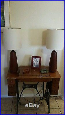 Pair of Vintage 1960s Danish Modern Solid Walnut Table Lamps