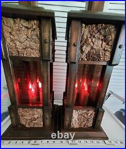 Pair of Vintage Dark Wood Table Lamps 3 Way Flicker Candle Lights MCM Gothic