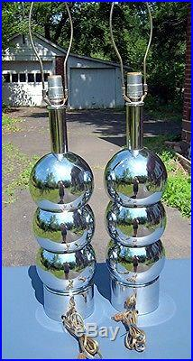 Pair of Vintage George Kovacs Mid Century Modern Chrome Stacked Ball Table Lamps