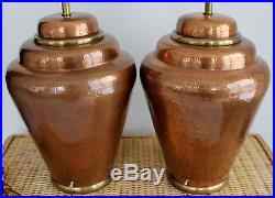 Pair of vintage hammered copper chapman large table lamps brass trim pair of vintage hammered copper chapman large table lamps brass trim 13 x 30 mozeypictures Image collections