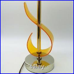 Pair of Vintage Metal and Bent Yellow Acrylic Mid Century Modern Table Lamps