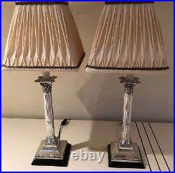 Pair of Vintage Silver Candlestick Lamps