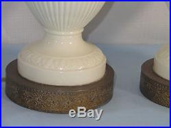 Pair of WEDGWOOD China QUEENSWARE Cream on Cream Table Lamps
