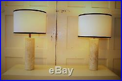 Pair of Walter von Nessen Cylindrical Italian Marble Table lamps