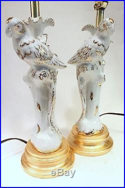 Pair of White and Gold Porcelain Bird Figurine Candle Stick Holder Table Lamp