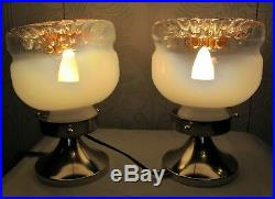 Pair of vintage Murano Mazzega Glass TABLE or BEDROOM LAMPS / LIGHTS. 1960-70's