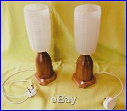 Pair of vintage mid century Danish Teak bedside table bottle lamps with shades