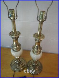Pair stiffel style Brass Table Lamps Hollywood Regency Classic Vintage 3 way