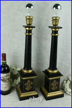 Pair vintage Wood carved empire style 1970 French table desk lamps