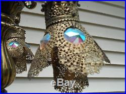 RARE PAIR VTG Gothic STYLE TABLE LAMPS 3 GOLD GILT MOVABLE LIGHTS IN MIDDLE