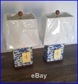 Ralph Lauren Home Oriental Table Lamp Pair Chinese Dragon Blue White Asian NEW