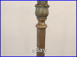 Rare Antique Bronze Aladdin Swan Torchiere Torch Floor Lamp Pair Claw Foot Base