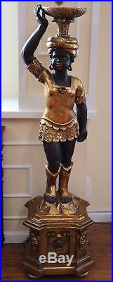 Rare Fine Pair 5ft Tall Gilded Blackamoor Nubian Fern Plant Lamp Stands Tables