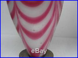 Rare Pair Fenton Dave Fetty Drag Loop Cranberry White Art Glass Table Lamps